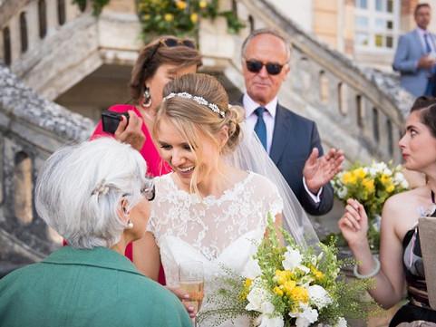 Super cute bride Lisa at beautiful Chateau de Bourron Marlotte!