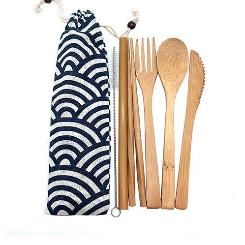 Bamboo Cutlery Set Travel Utensils Biodegradable  Tableware Set