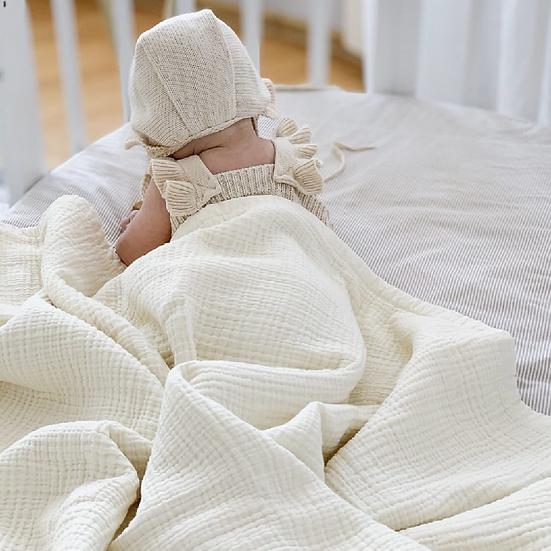 Baby Blankets - Organic Muslin Blanket, Bath Towel, Boy/Girl Blanket Quilt