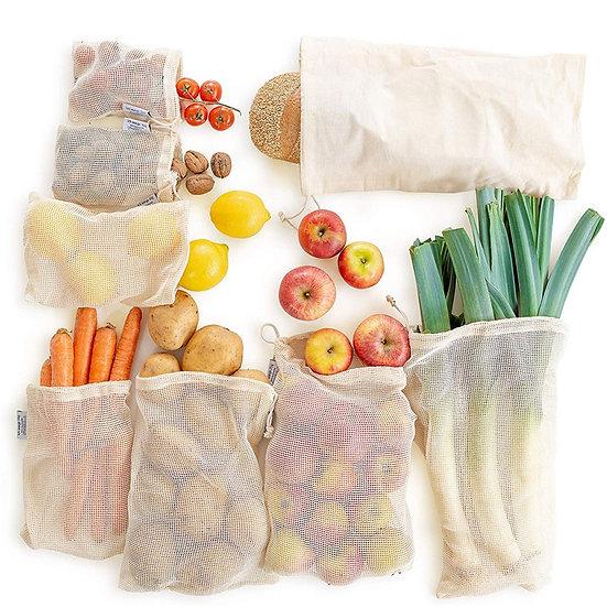 Natural Cotton Mesh -  Zero Waste Organic Cotton Bag Washable Drawstring Bag