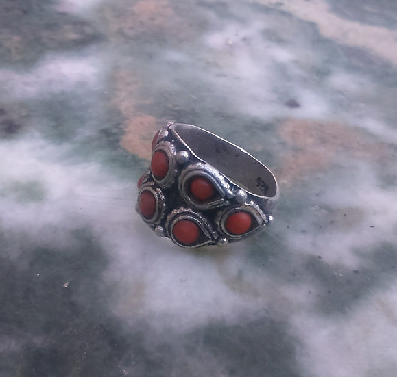 Coral & Silver 925 Ring