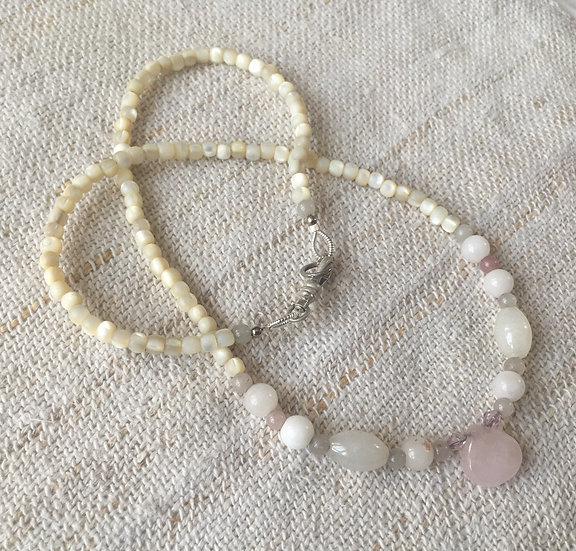 Rose Quartz & Polished Pearl Necklaces