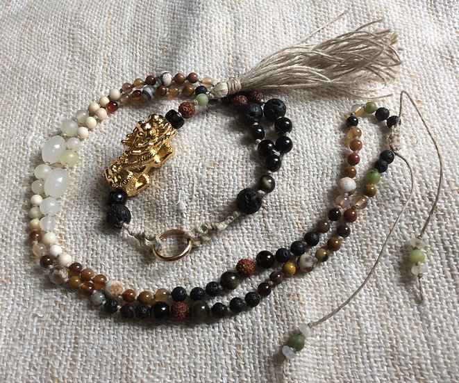 Pixue Mala - Fossil, Jade , Lava, Petrified Wood, Obsidian & Rudraksha Necklace