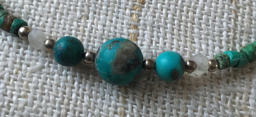 Turquoise Tumbled Beads & Polished Pearls and rudraksha bead.