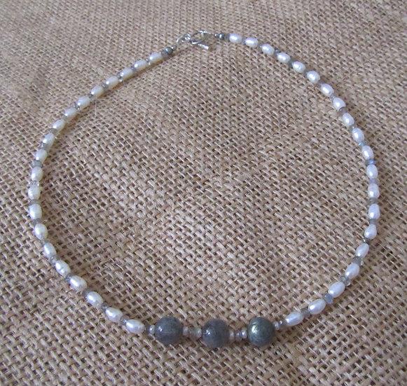 Labradorite, & Fresh Water  Pearl Necklace
