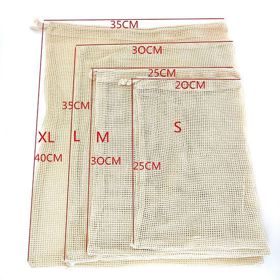 Reusable Organic Cotton Produce Bags Cotton Mesh Bags Biodegradable