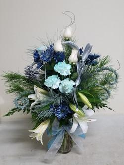 Blue & Silver Winter Arrangement