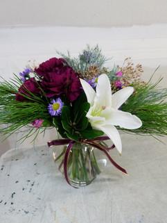 White & Purple Ivy Bowl