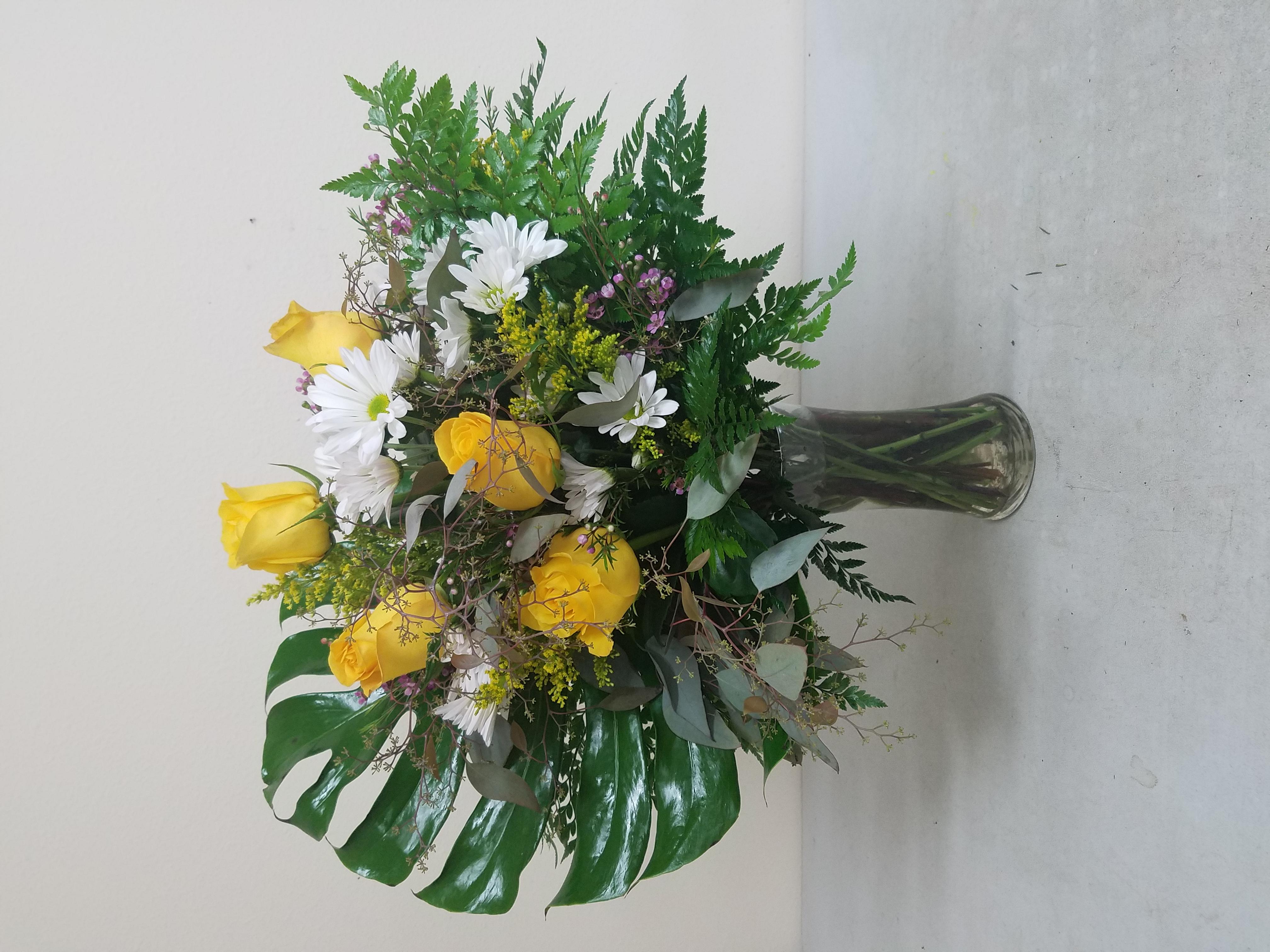 Tropical Yellow Rose Arrangement
