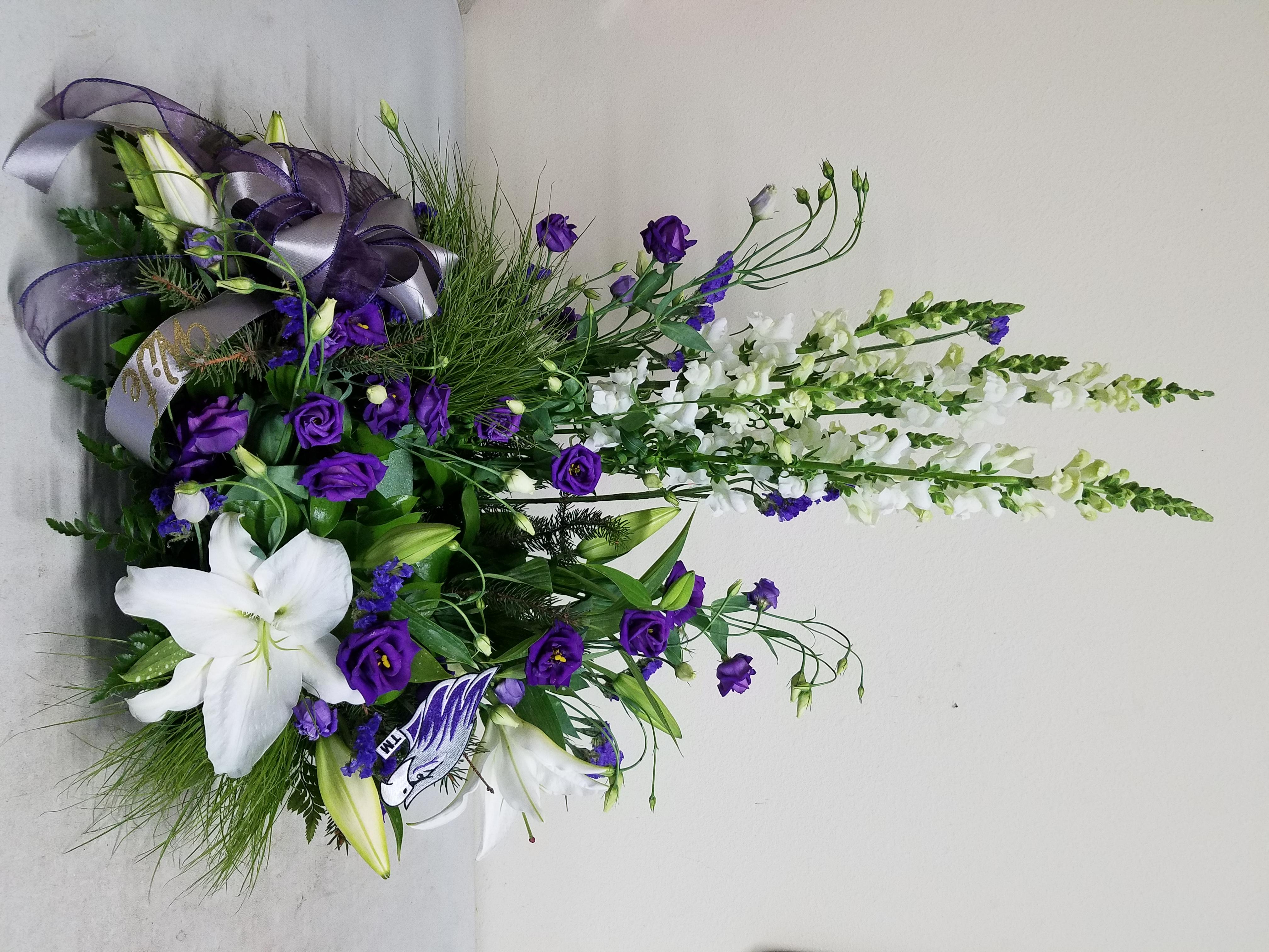 Purple & White Cremation Display