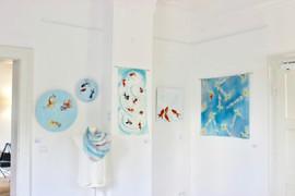 Mur de soie et de peinture à l'huile