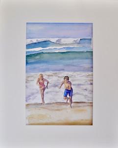 course sur la plage