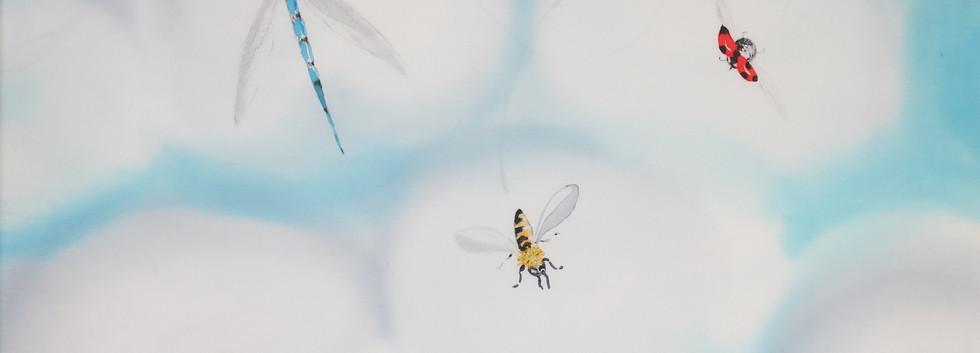 Envolée d'insectes