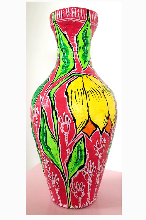 Hand made painted vase.