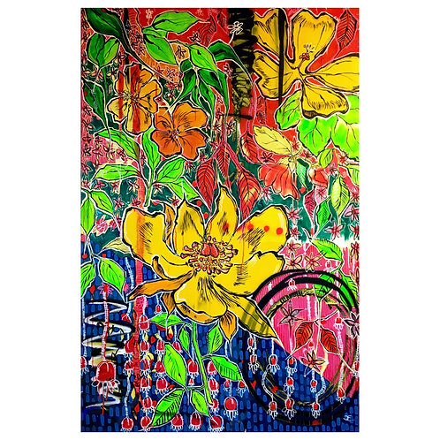 'River Paeonia Officinalis' original on canvas