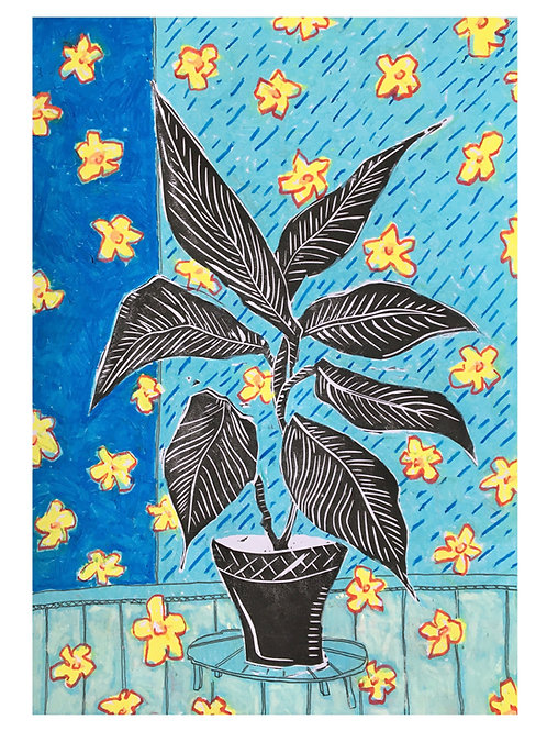 'The flowers', hand printed lino cut on paper