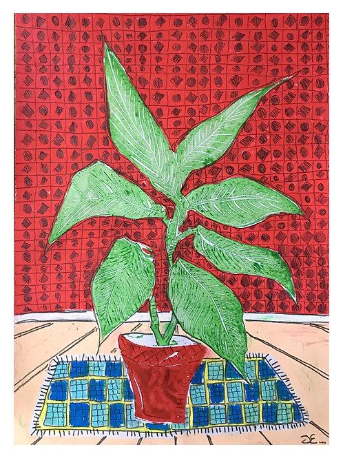 'Indoors 2', 30x42cm, Unique lino print on paper