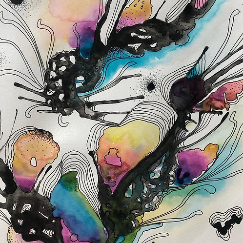 """""""Blowing Coral Reef"""" Abstract Watercolor  Series No.3"""