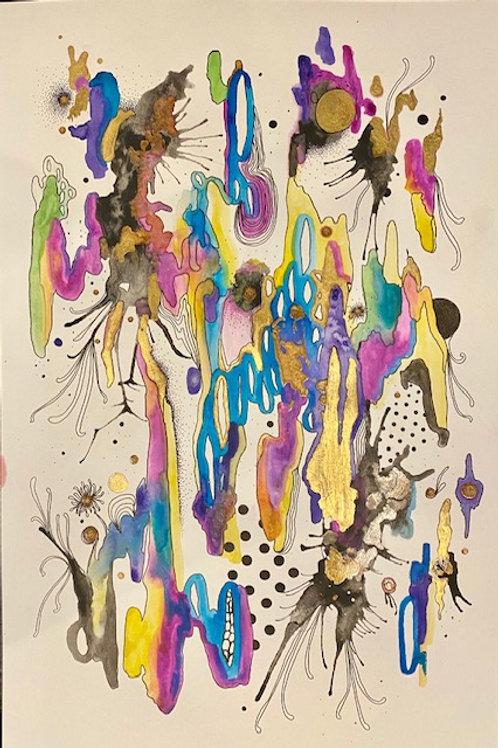 12 x 18 Watercolor Ink, Enamel Series
