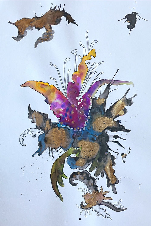 12 x 18 Floral Abstract Watercolor and Enamel No.2