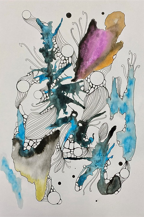 Abstract Watercolor Cellular Series No.2