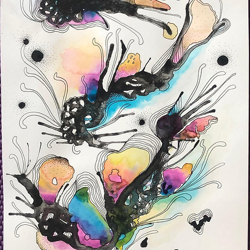 9 x 12 Blowing Coral Reef -  Abstract Series No.11