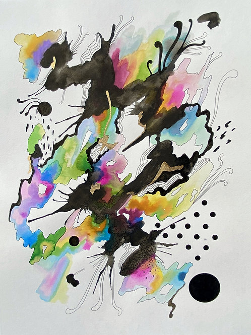 Large 18 x 24 inch Abstract Watercolor No.3