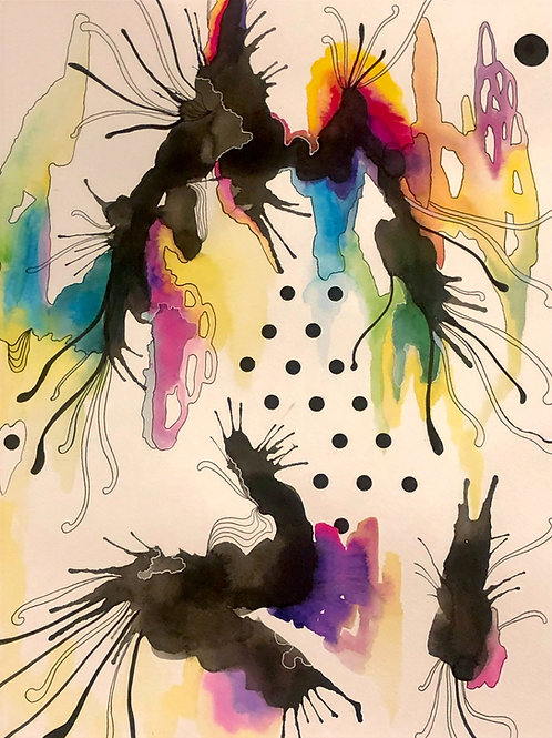 18 x 24 Large Abstract  Watercolor Series No. 1