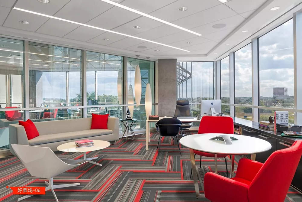 Red/grey striped carpet tiles, PVC backing from Hanking Carpet. Cheap and easy installation for office and buildings