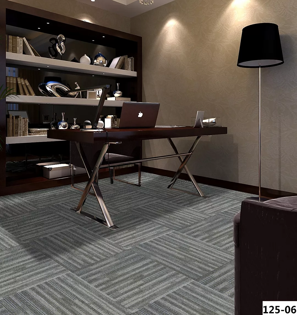 pvc backing carpet tile for office and libraries. Used commercially in Singapore. Grey and basic design, minimalistic