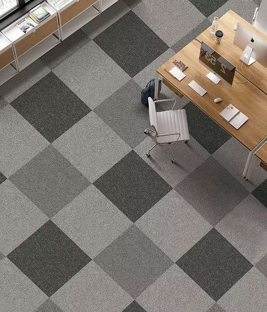 Grey, basic carpet tiles for office in Singapore, cheap installation