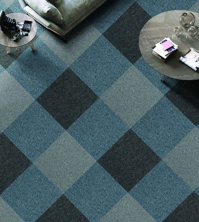 Modern design, fire resistant carpet tiles for office in Singapore, mix and match of colours
