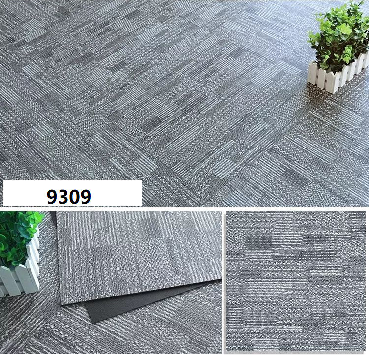 Vinyl tiles flooring but has carpet print on it, water resistant as compared to normal office carpet tiles.