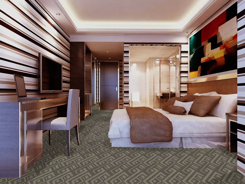 Patterened rolled carpets for hotel rooms, lecture theatres and office buildings and malls