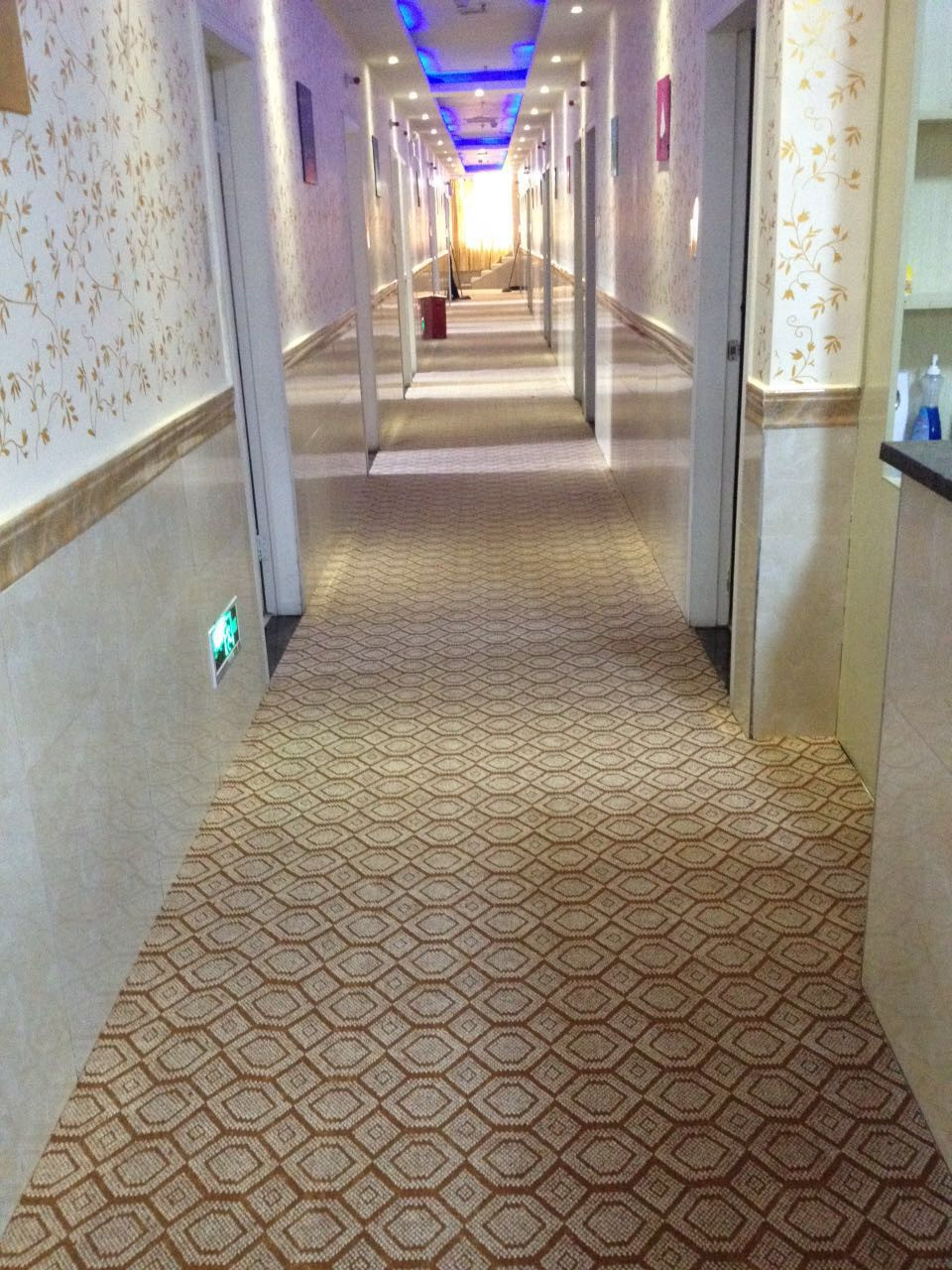 Hexagon printed carpet rolls, for office corridor or schools. Cheap and easy to install.