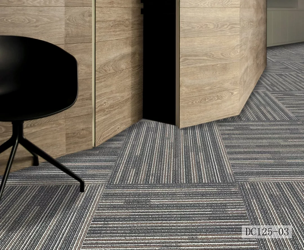 Basic, modern and minimalistic carpet tile design, grey stripes. Commonly used in office buildings, schools, libraries and homes
