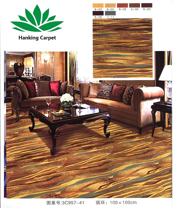 High end carpet rolls, thick and dense for hotel floors with high human traffic. Used in hotel lobbies and banquets