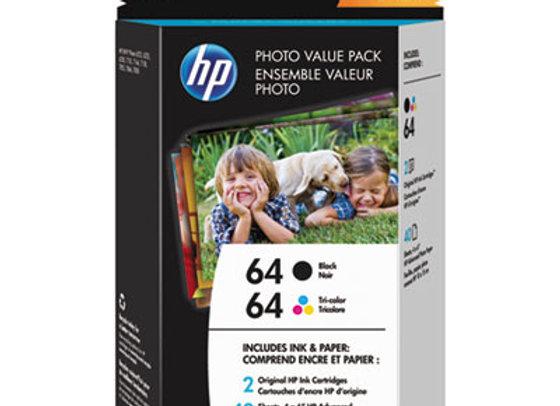 HP 64 Z2H77AN Photo Value 2-Pack Black/Tricolor Photo Cartridges