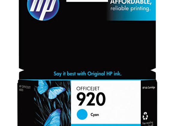 HP 920 Cyan Original Ink Cartridge, CH634AN#140