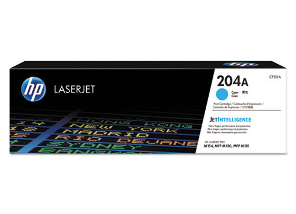 HP 204A Cyan Original LaserJet Toner Cartridge, CF511A