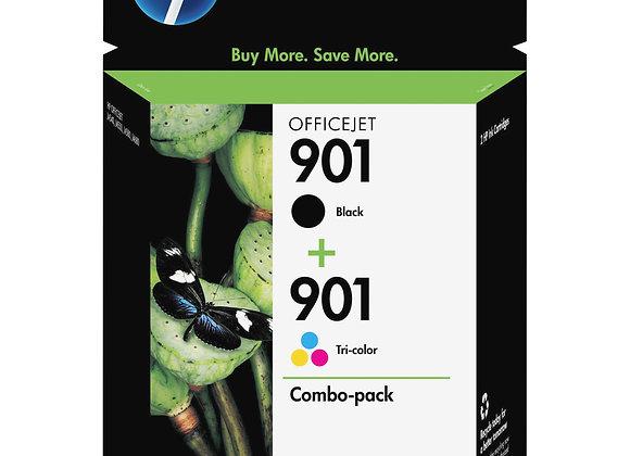 HP 901 2-pack Black/Tri-color Original Ink Cartridges, CN069FN#140