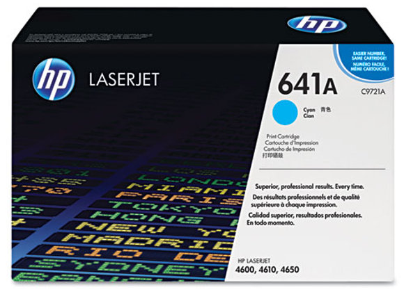 HP 641A, (C9721A) Cyan Original LaserJet Toner Cartridge