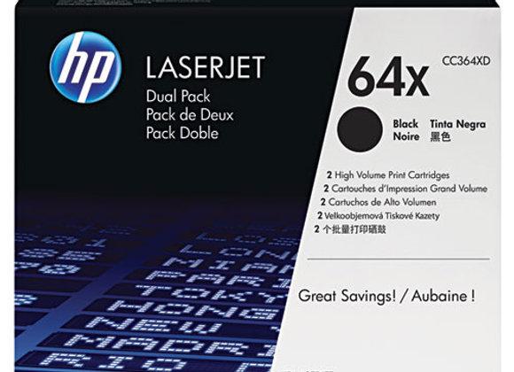 HP 64X 2-pack High Yield Black Original LaserJet Toner Cartridges, CC364XD