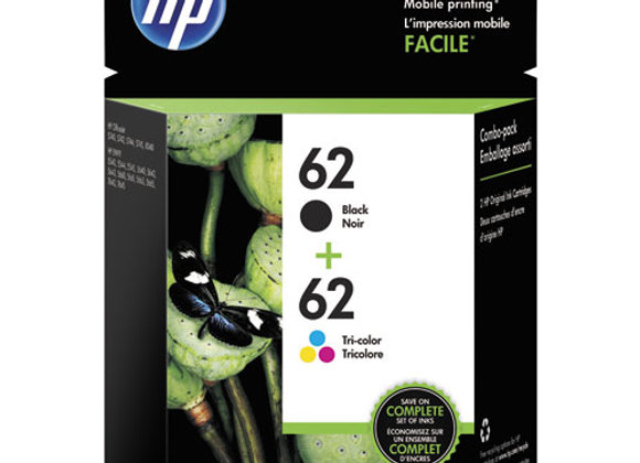 HP 62, (N9H64FN) 2-Pack Black/Tri-Color Original Ink Cartridges