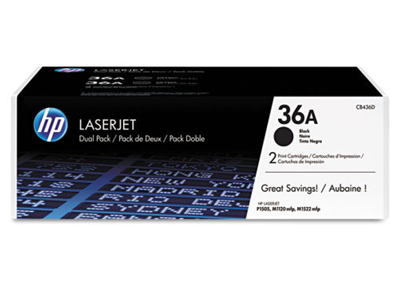 HP 36A 2-pack Black Original LaserJet Toner Cartridges, CB436D