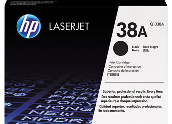 HP 38A Black Original LaserJet Toner Cartridge, Q1338A