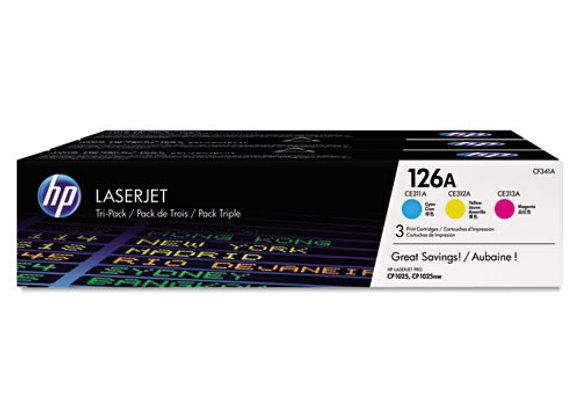 HP 126A 3-pack Cyan/Magenta/Yellow Original LaserJet Toner Cartridges, CF341A