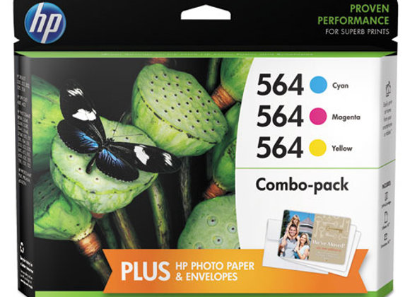 HP 564, (N9H57FN) 3-Pack Cyan/Magenta/Yellow Original Ink Cartridges