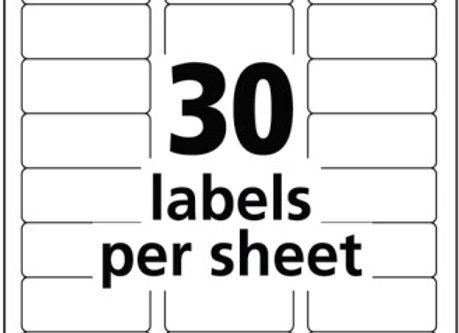"LABELS 1""x2-5/8"" 30PSHT 250SHTS 7500/BOX"