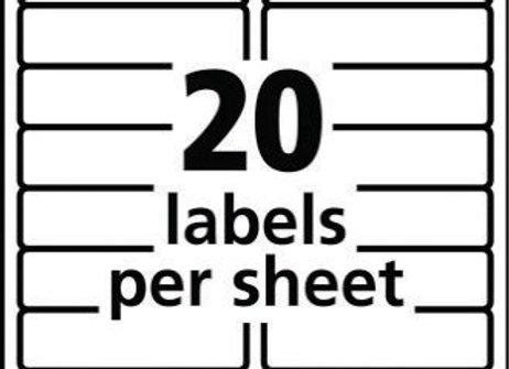 "LABEL 1"" x 4"" ADDRESS 20SHT 250SHEETS"